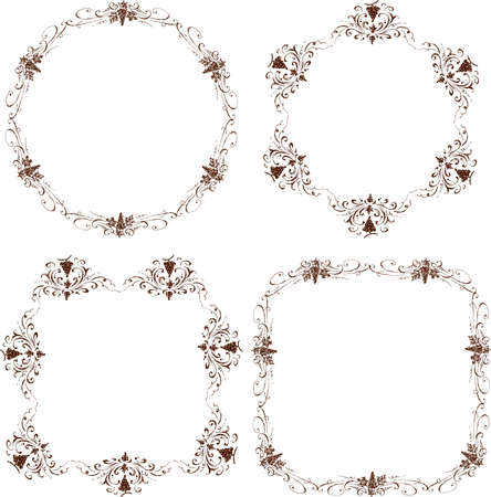 Set of decorative floral frames of sketches vine branches with grape bunches in vintage style
