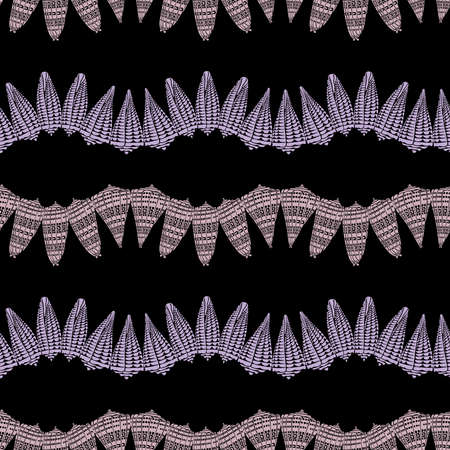 Seamless pattern from silhouettes decorative vintage seashells in rows