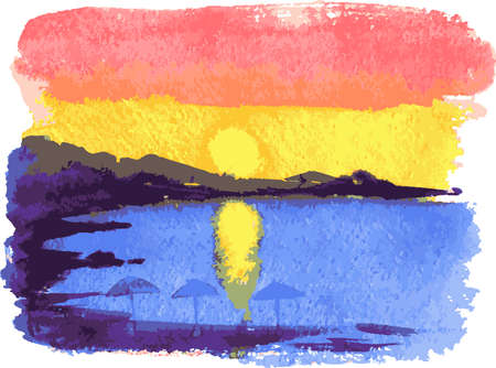 Vector drawing of watercolor seascape of sunset over beach Vectores