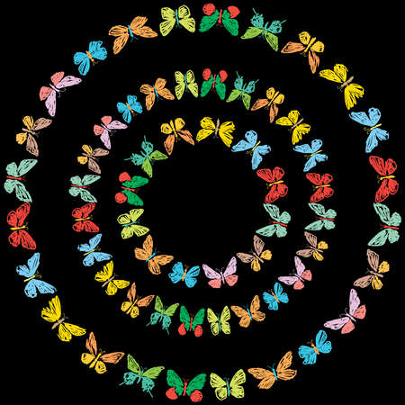 Vector image of decorative round frames from doodles various colorful butterflies