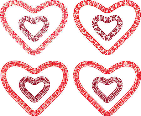 Vector drawings of decorative heart shapes from meanders ornaments