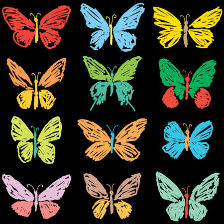 Vector image of doodles various colorful butterflies