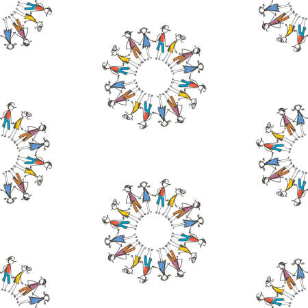 Seamless pattern from outline colorful people doodles in circles