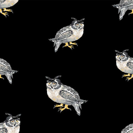 Seamless pattern of watercolor sketches of forest owls Vectores