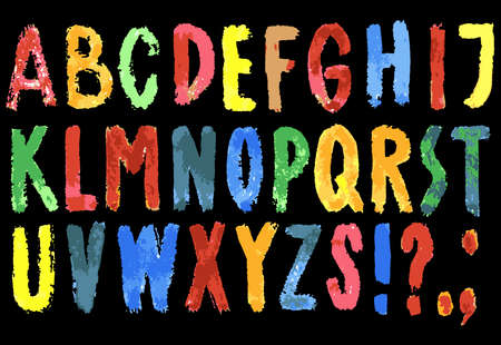 Vector image of colorful watercolor letters of alphabet