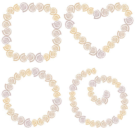 Vector drawings of set decorative borders from drawn nautilus seashells
