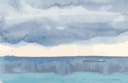 Vector image of watercolor seascape of cloudy sky over stormy sea