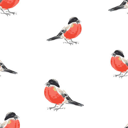 Seamless background of watercolor sketches of bullfinches