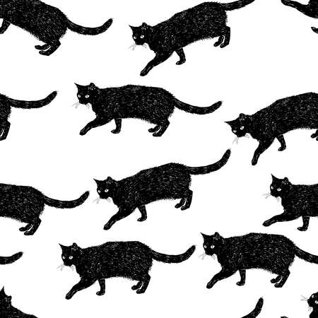 Seamless pattern of sketches flock black domestic cats