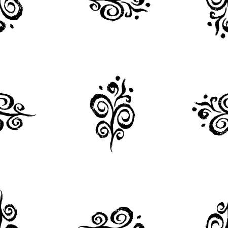 Seamless background of freehand drawin decorative vintage design elements