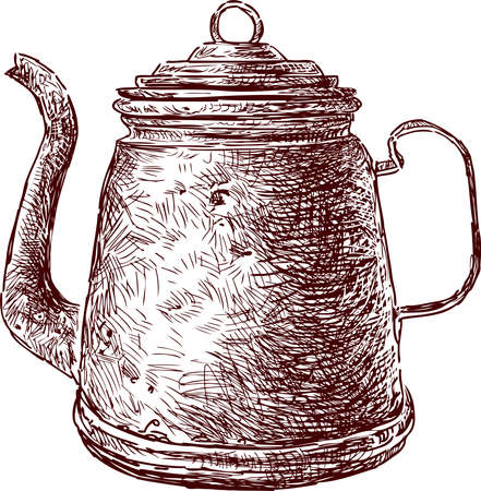 Freehnad drawing of old copper tea pot