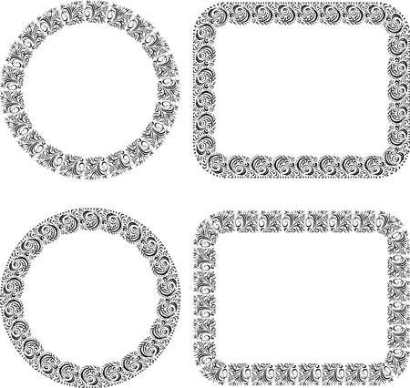 Set of ornamental frames from sketches vintage design elements