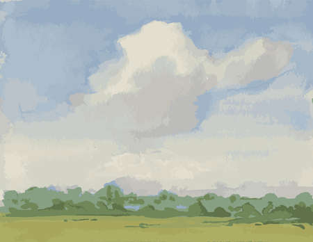 Vector image of watercolor landscape with big white cloud over field on summer day