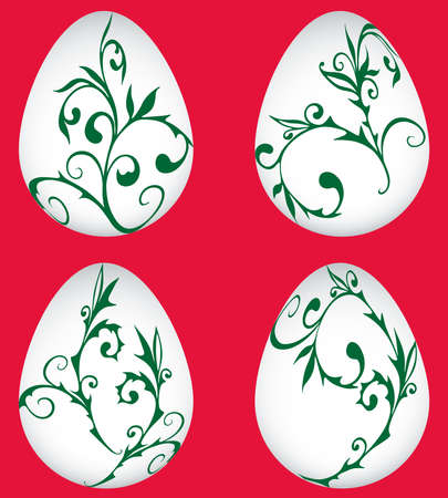 Set of abstract easter eggs with green decorative twigs
