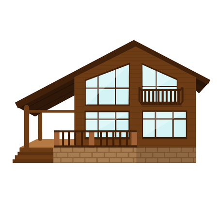 Cool detailed wooden house icon isolated on white background Illustration