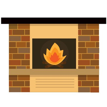 fireplaces: Home fireplaces with fire isolated on white background