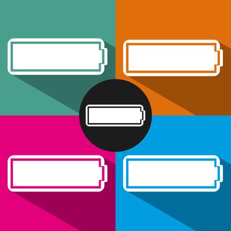 Battery icons set on color background. Flat design