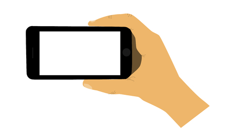 smartphone hand: Hand holding smartphone. Mobile phone in hand. Illustration