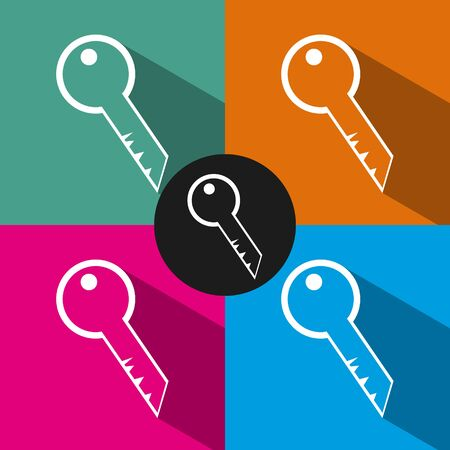 secret identities: Key flat icon in style isolated on color background. Illustration