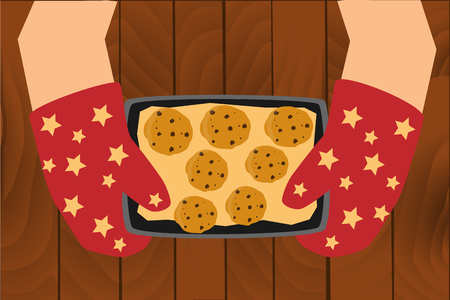 Zelfgemaakte koekjes op de bak Stockfoto - 69591856