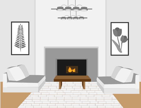 western style room: The interior of cozy living room with sofa. Modern apartment Illustration