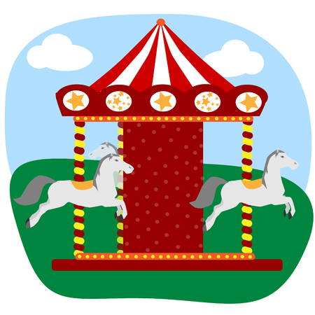 Carousel with three colored horses isolated on colorful background Illustration