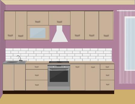 modern kitchen: Kitchen interior. Flat Modern Kitchen. Illustration