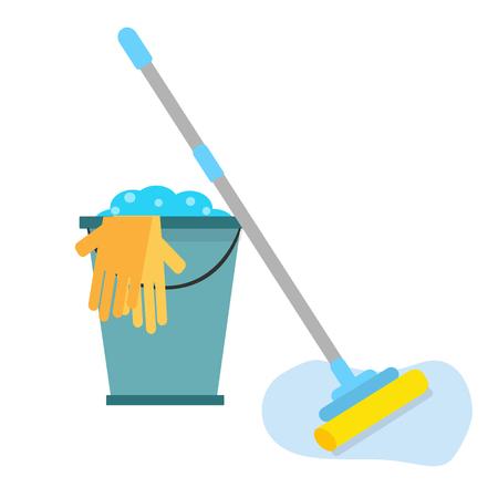 servicio domestico: Herramientas de limpieza. Plano aislado.