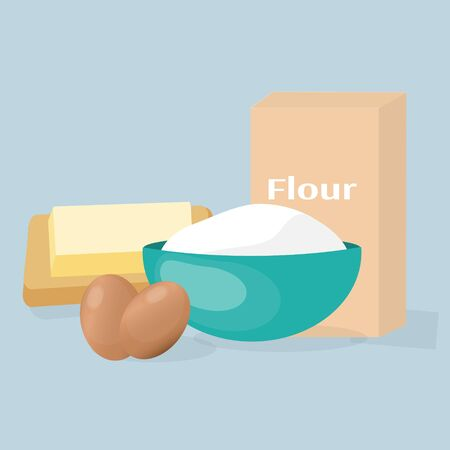 Cookieng ingredients - flour, eggs and butter Illustration