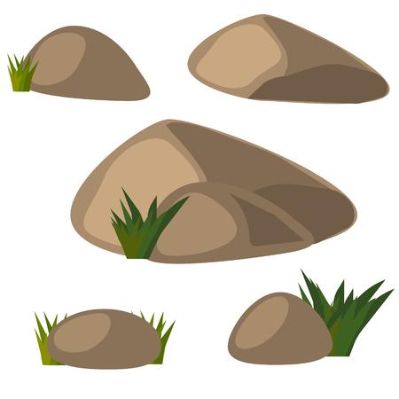 Stone set with grass Illustration