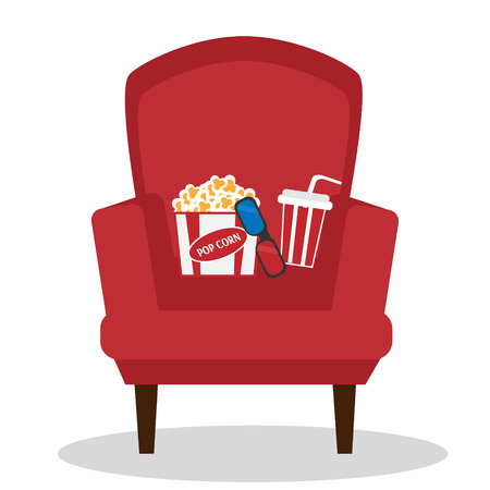 blockbuster: Cinema Chair Icon Isolated On White Background