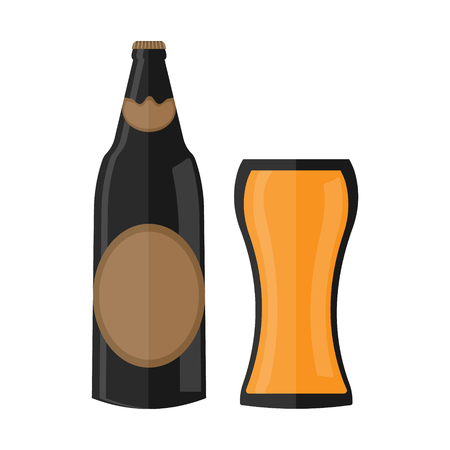 Beer bottle flat icon with glass