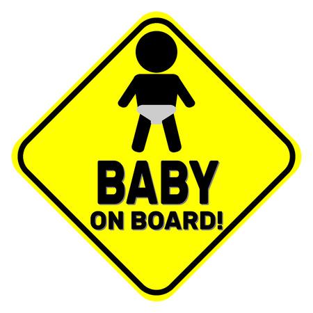 bebe a bordo: Baby on board yellow sign Vectores