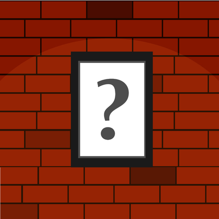 unsure: Question mark on brick wall Illustration
