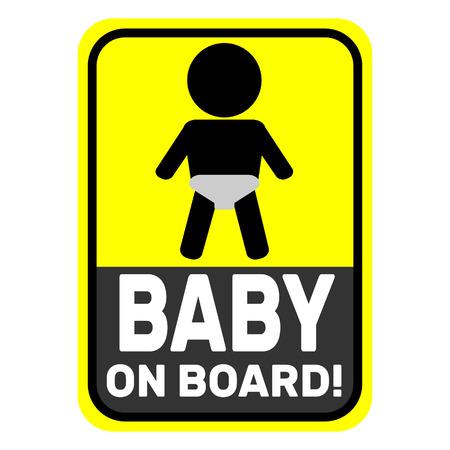 bebe a bordo: Baby on board yellow icon Vectores