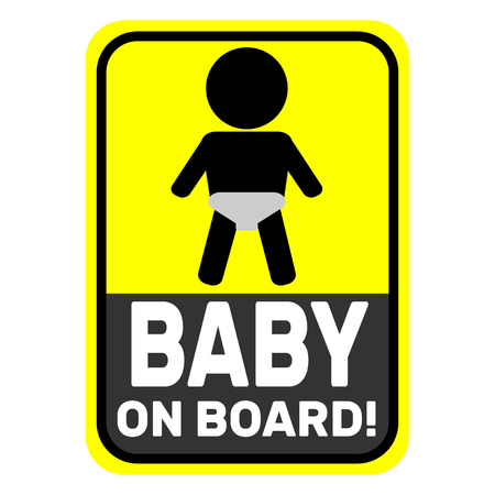 Baby on board yellow icon Illustration