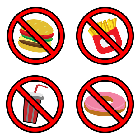 no food: Fastfood prohibition sign