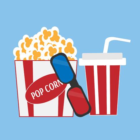 Popcorn and 3d glasses on blue background Illustration