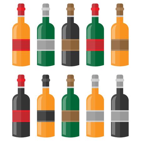 Colorful wine bottle set Illustration