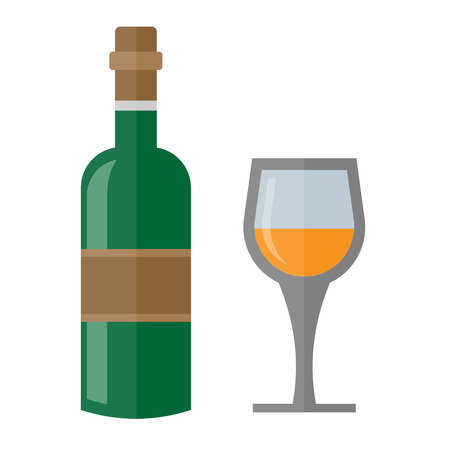 Wine bottle with brown top and glass Illustration