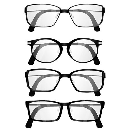 Set of realistic glasses on white background