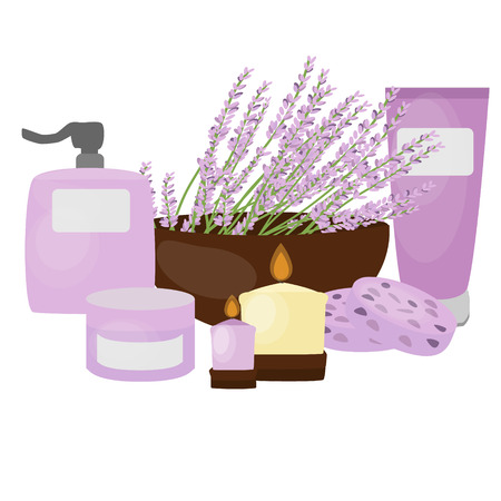 treatment plant: Lavender isolated. Cosmetic containers with lavender cream. Illustration