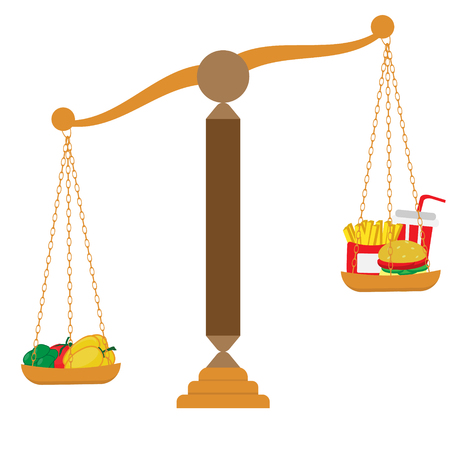 Vegetables and fast food on scales