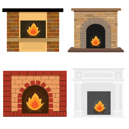 Fireplace set Vector Illustration