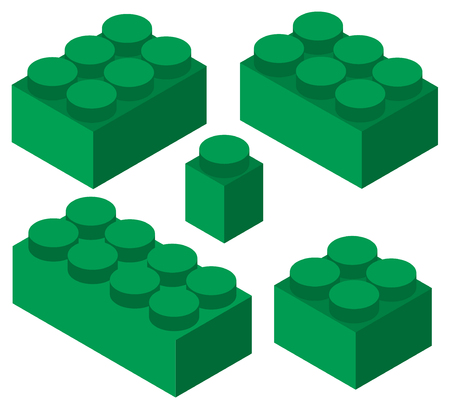 Colorful plastic construction blocks set isometric