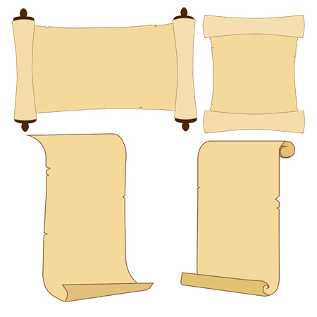 Old parchment scroll set