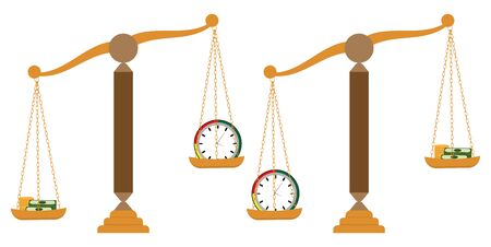 Money and time on scale Illustration