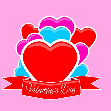 Valentine S Day Card Hearts With Red Ribbon Royalty Free Cliparts