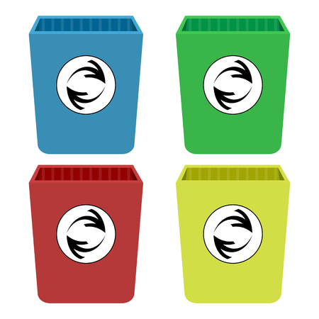 Four colors of rubbish cans
