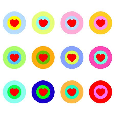Colorful hearts icon set